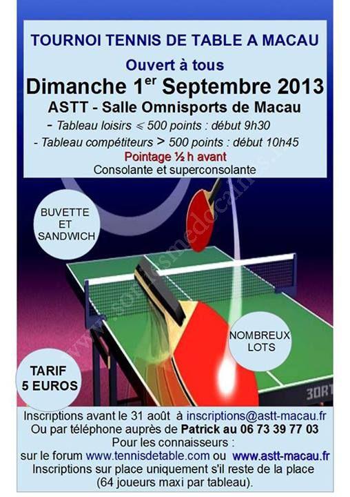Se Divertir Dans Le Medoc Agenda Tournoi Amical Tennis De Table