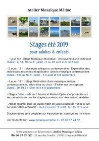 Stages d'été 2019 Mosaïque Médoc