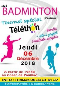 Badminton Tournoi Spécial Téléthon 2018