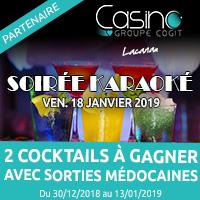 Casino de Lacanau : Gagne tes cocktails pour la soirée karaoké du 18 janvier 2019