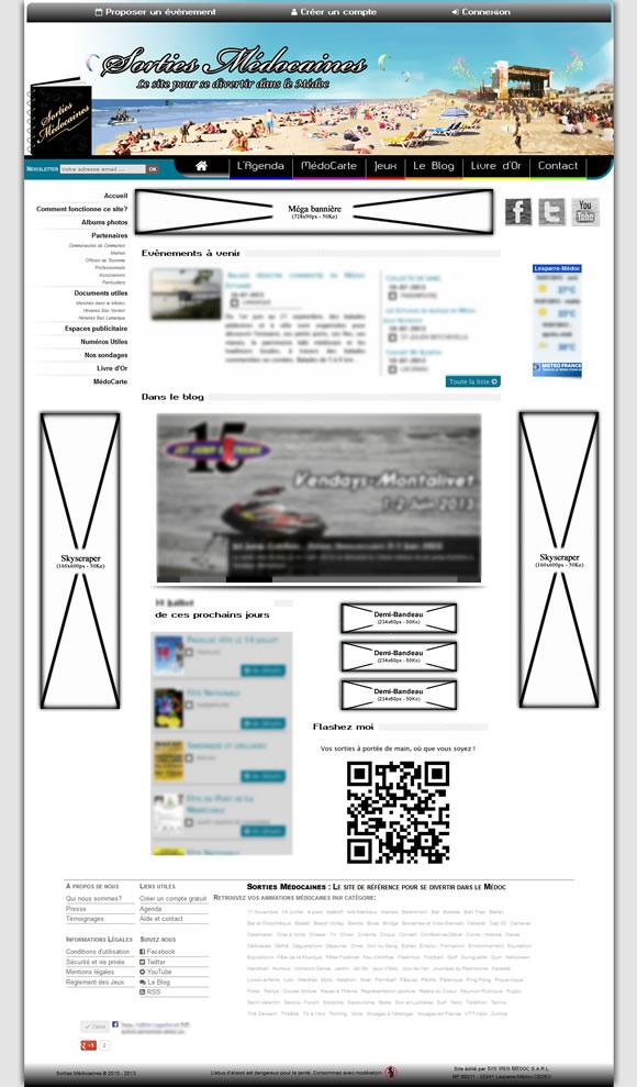 Emplacement des espaces publicitaires sur le site www.sortiesmedocaines.fr